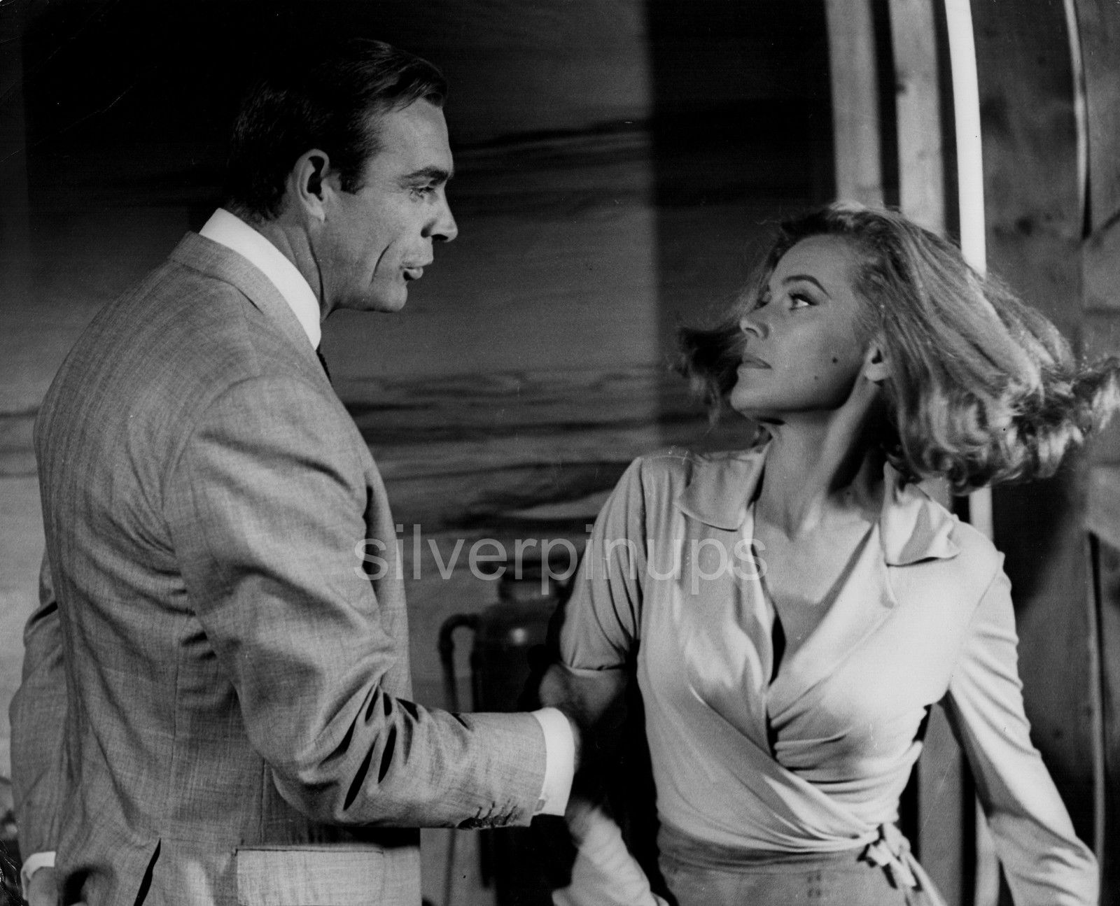 2 Orig James Bond Sean Connery Honor Blackman Scene Portraits Goldfinger Silverpinups