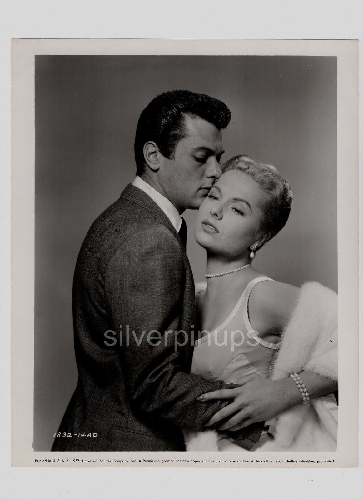 Orig 1957 Tony Curtis Martha Hyer Sexy Passionate Mister Cory Portrait Silverpinups