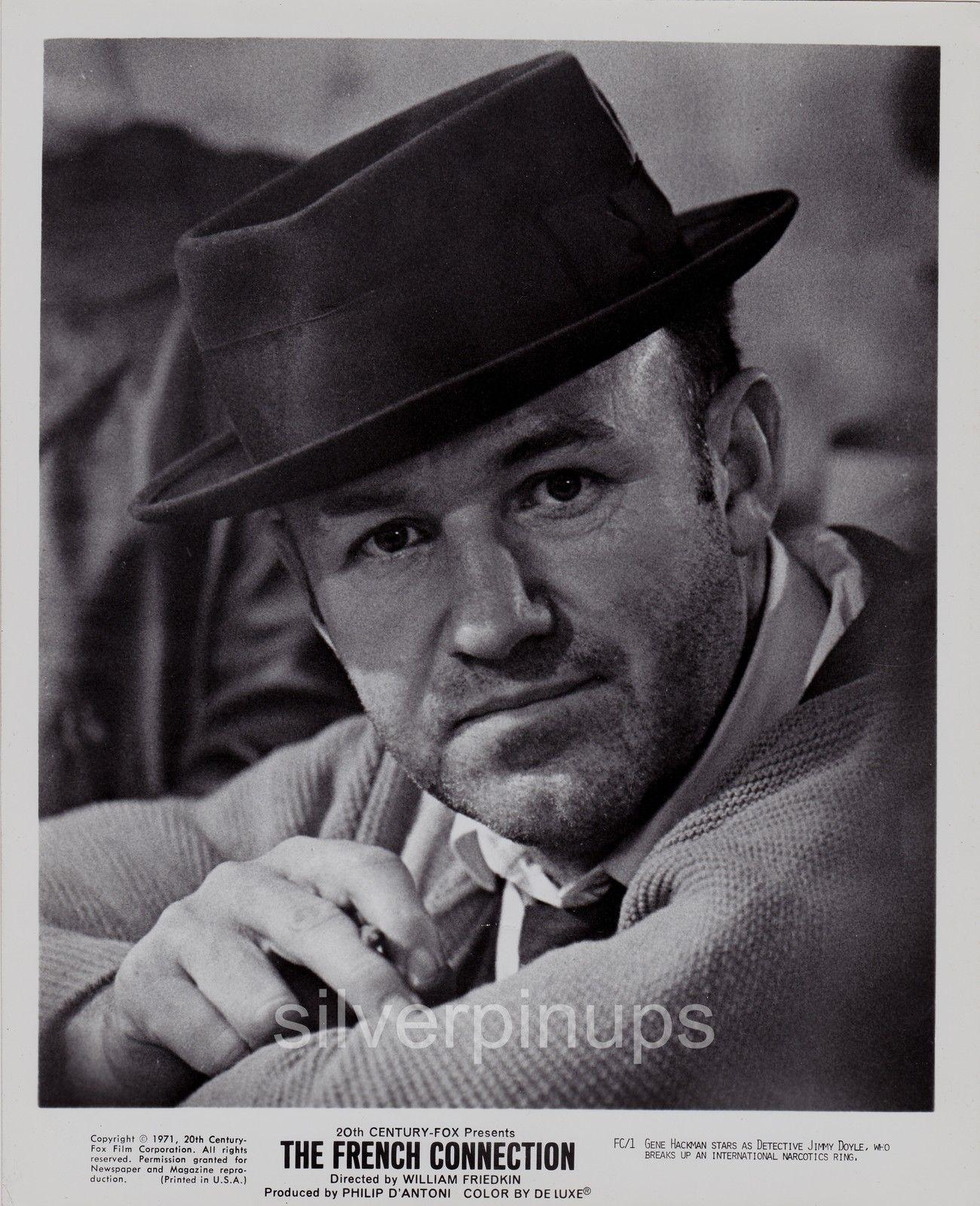 """a65572ac185 Orig 1971 GENE HACKMAN as """"Popeye"""" Doyle.. """"THE FRENCH CONNECTION"""" Portrait"""